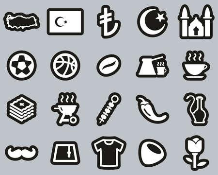 Republic Of Turkey Country & Culture Icons White On Black Sticker Set Big Vektorové ilustrace