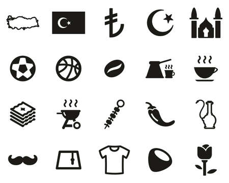 Republic Of Turkey Country & Culture Icons Black & White Set Big