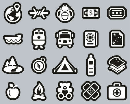 Refugees & Migrants Icons White On Black Sticker Set Big Vettoriali