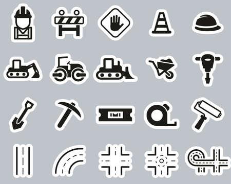 Road Construction Icons Black & White Sticker Set Big