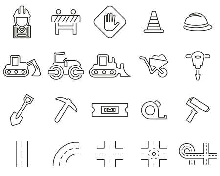 Road Construction Icons Black & White Thin Line Set Big  イラスト・ベクター素材
