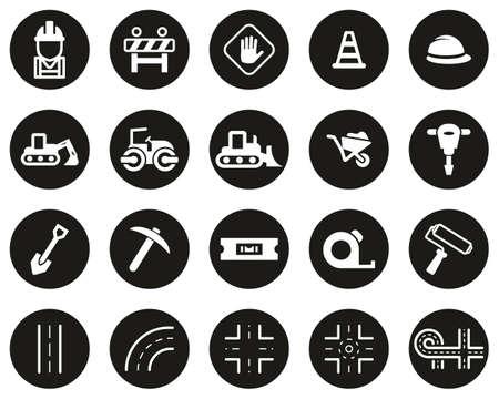 Road Construction Icons White On Black Flat Design Circle Set Big