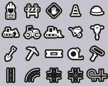 Road Construction Icons White On Black Sticker Set Big