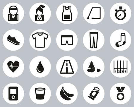 Running Or Jogging Icons Black & White Flat Design Circle Set Big