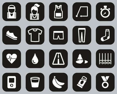 Running Or Jogging Icons Black & White Flat Design Set Big