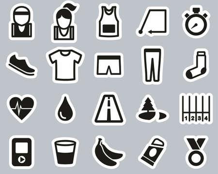 Running Or Jogging Icons Black & White Sticker Set Big