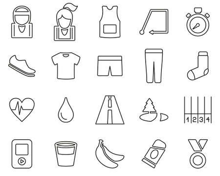 Running Or Jogging Icons Black & White Thin Line Set Big Çizim