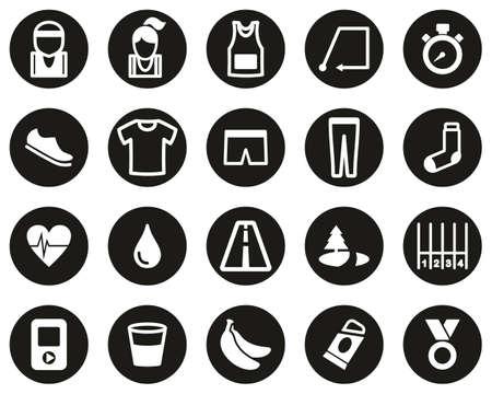 Running Or Jogging Icons White On Black Flat Design Circle Set Big Çizim