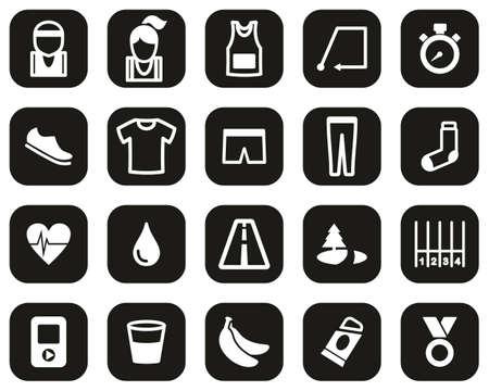 Running Or Jogging Icons White On Black Flat Design Set Big