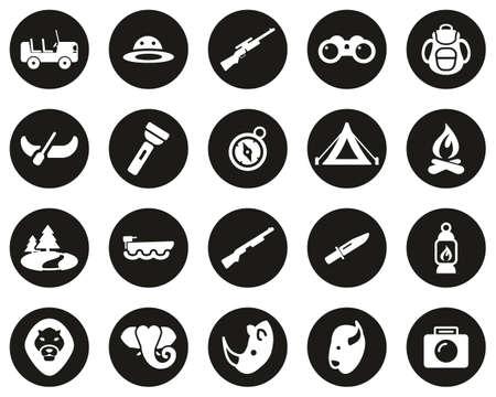 Safari Or Hunting Icons White On Black Flat Design Circle Set Big