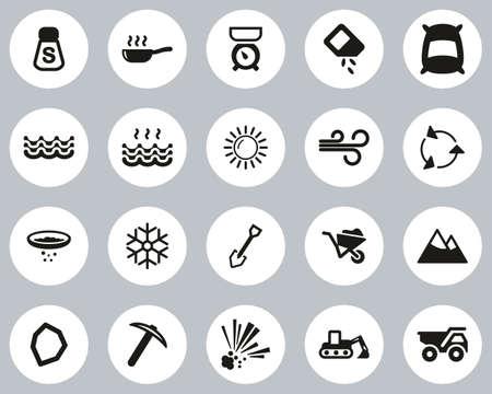 Salt & Salt Mining Icons Black & White Flat Design Circle Set Big