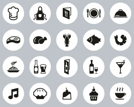 Restaurant Or Dinner Icons Black & White Flat Design Circle Set Big 向量圖像