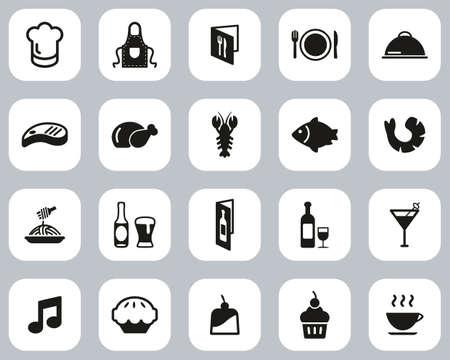 Restaurant Or Dinner Icons Black & White Flat Design Set Big