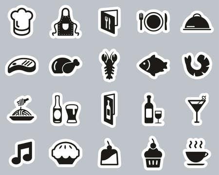 Restaurant Or Dinner Icons Black & White Sticker Set Big 向量圖像