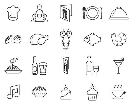 Restaurant Or Dinner Icons Black & White Thin Line Set Big Vectores