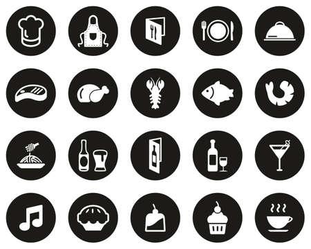 Restaurant Or Dinner Icons White On Black Flat Design Circle Set Big
