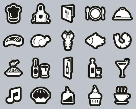 Restaurant Or Dinner Icons White On Black Sticker Set Big