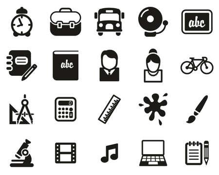 School Or Education Icons Black & White Set Big Stock Illustratie