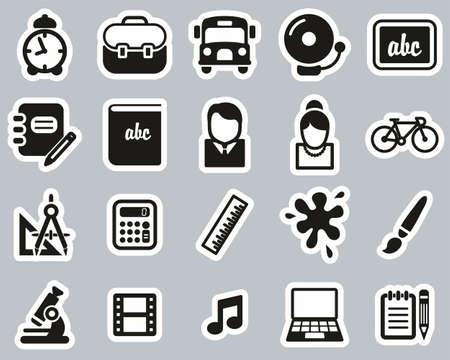 School Or Education Icons Black & White Sticker Set Big