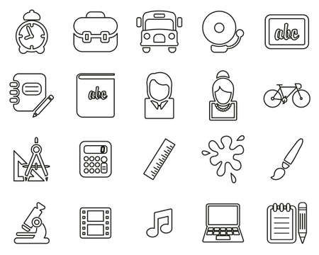 School Or Education Icons Black & White Thin Line Set Big