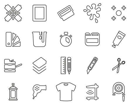 Screen Printing Icons Black & White Thin Line Set Big
