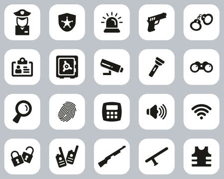 Security System & Equipment Icons Black & White Flat Design Set Big