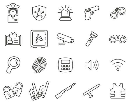 Security System & Equipment Icons Black & White Thin Line Set Big
