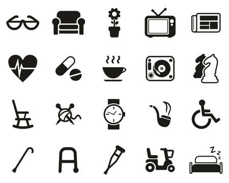 Senior People Icons Black & White Set Big