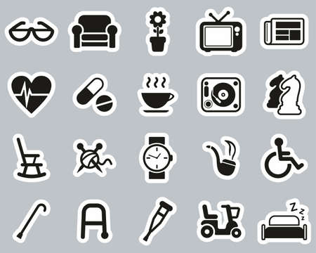 Senior People Icons Black & White Sticker Set Big