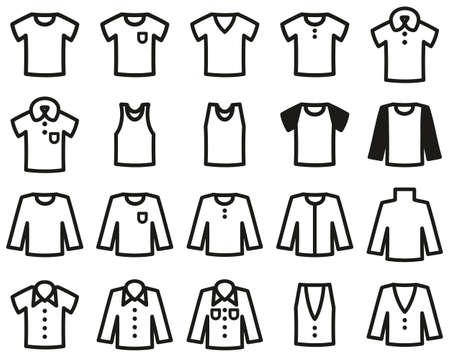 Shirt Icons Black & White Set Big