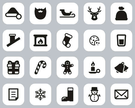 Santa Claus Icons Black & White Flat Design Set Big