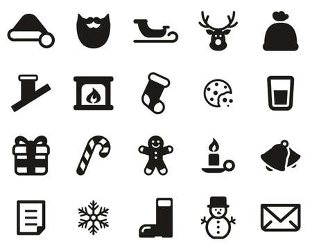 Santa Claus Icons Black & White Set Big