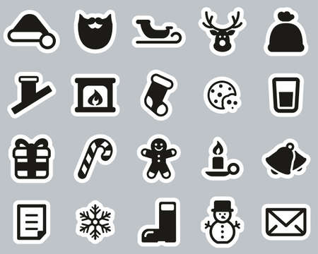 Santa Claus Icons Black & White Sticker Set Big Illustration