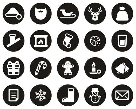 Santa Claus Icons White On Black Flat Design Circle Set Big Illustration