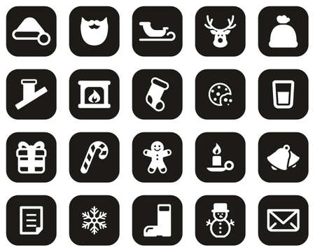 Santa Claus Icons White On Black Flat Design Set Big