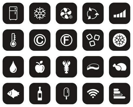 Refrigerator Or Cooler Icons White On Black Flat Design Set Big Illustration