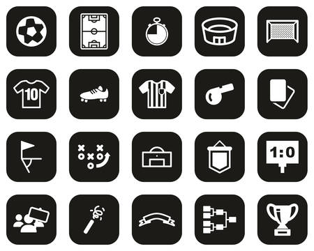 Soccer Or Football Icons White On Black Flat Design Set Big Ilustración de vector
