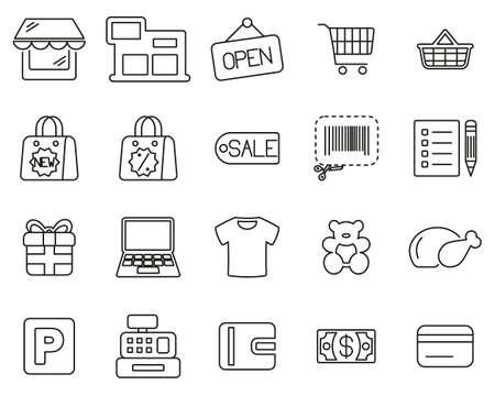 Shopping Mall Or Supermarket Icons Black & White Thin Line Set Big Vektoros illusztráció