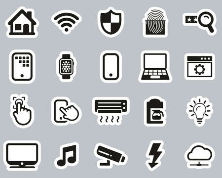 Smart Home Or Smart House Icons Black & White Sticker Set Big Illustration