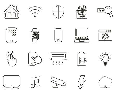 Smart Home Or Smart House Icons Black & White Thin Line Set Big