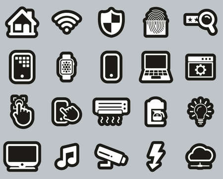 Smart Home Or Smart House Icons White On Black Sticker Set Big Illustration