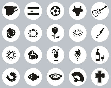 Spain Country & Culture Icons Black & White Flat Design Circle Set Big