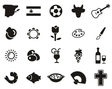 Spain Country & Culture Icons Black & White Set Big