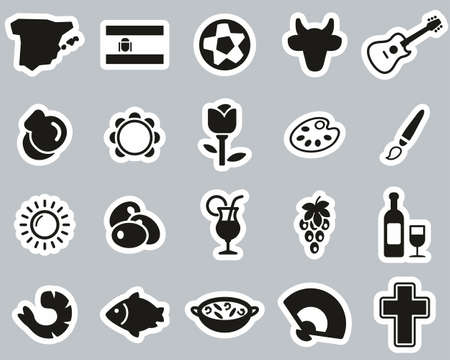 Spain Country & Culture Icons Black & White Sticker Set Big Ilustrace