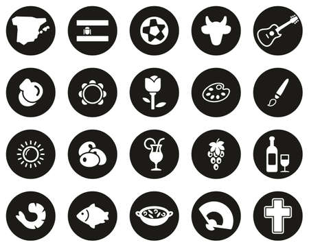 Spain Country & Culture Icons White On Black Flat Design Circle Set Big Ilustrace
