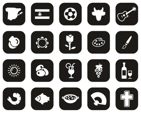 Spain Country & Culture Icons White On Black Flat Design Set Big