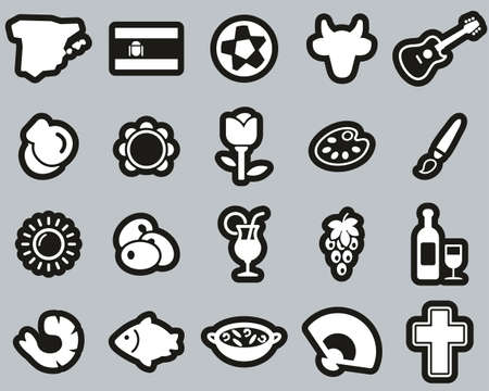 Spain Country & Culture Icons White On Black Sticker Set Big