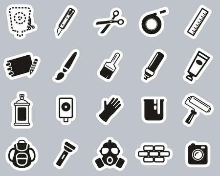 Stencil & Street Art Icons Black & White Sticker Set Big