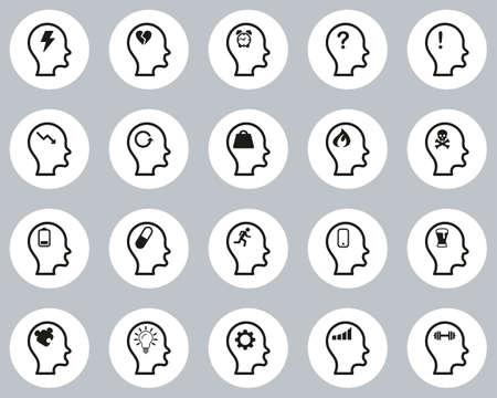 Stress & Pressure Icons Black & White Flat Design Circle Set Big Ilustracja