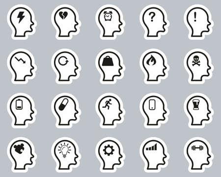 Stress & Pressure Icons Black & White Sticker Set Big